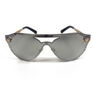 Versace Medusa 60mm Crystal Shield Sunglasses NIB